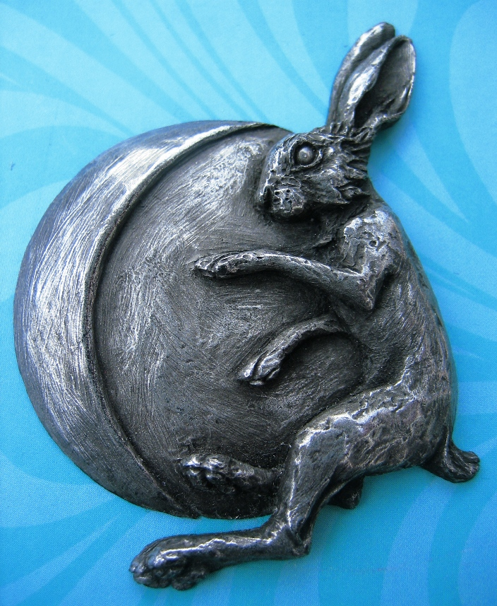 'Hare & Moon' brooch