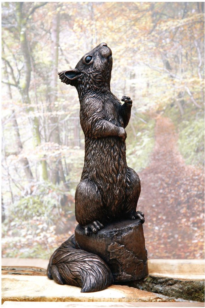 Red Squirrel sculpture; 'Charles' by sculptor Kirsty Armstrong