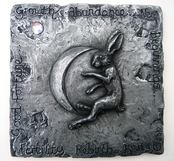 Hare and Moon plaque by Kirsty Armstrong sculpture