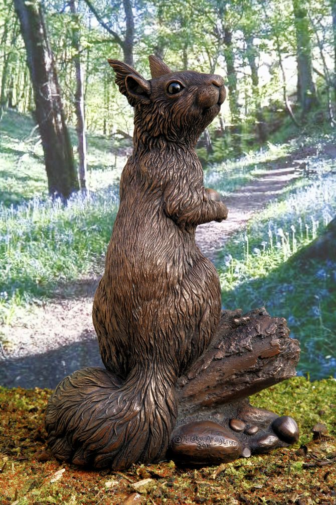 Red squirrel sculpture;'Willow', limited edition in cold-cast copper
