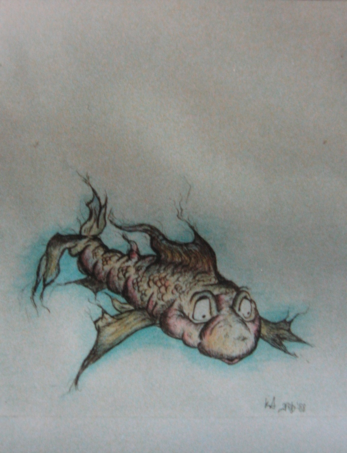 ''Mutant fish' drawing 1988