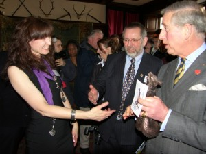 Kirsty presenting HRH Prince Charles with her Red squirrel sculpture 'Charles'