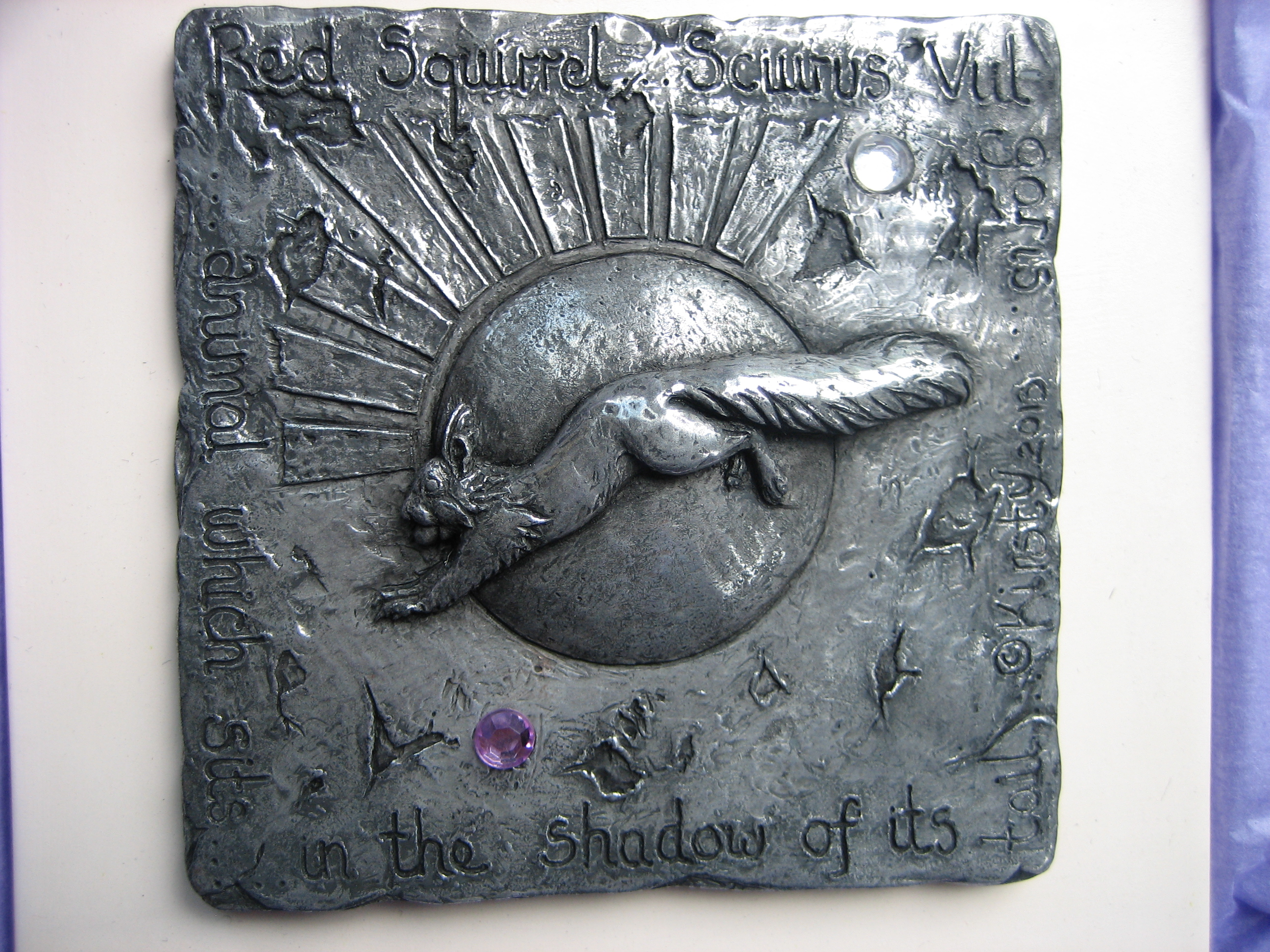 Red squirrel wall plaque in Cold-cast Pewter