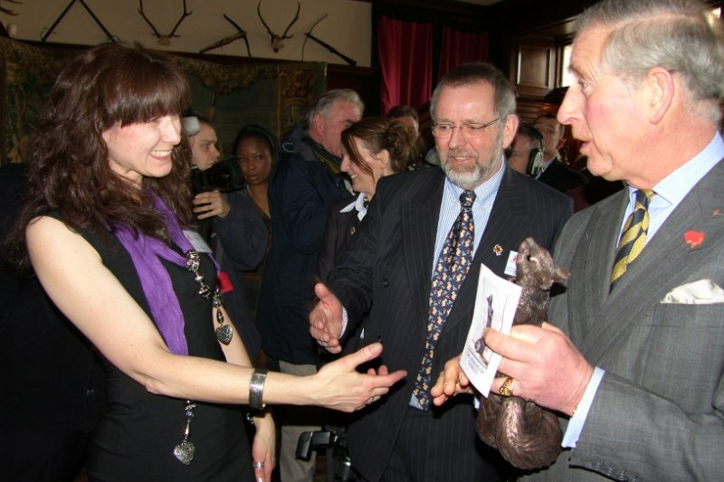 Kirsty Armstrong presenting her Red Squirrel sculpture to HRH Prince Charles