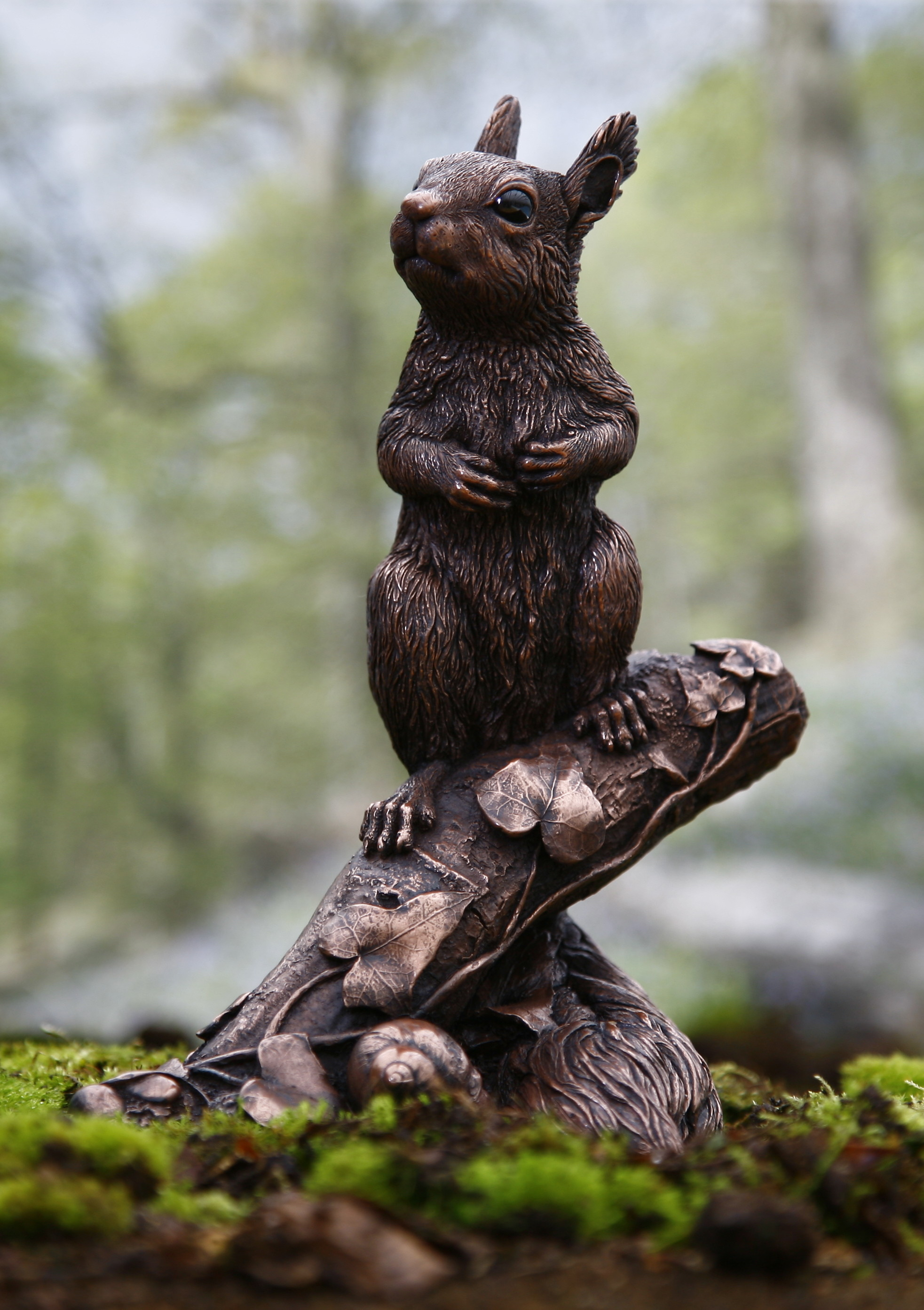 British wildlife sculpture;Red Squirrel Kitten in cold-cast copper by Kirsty Armstrong Sculpture