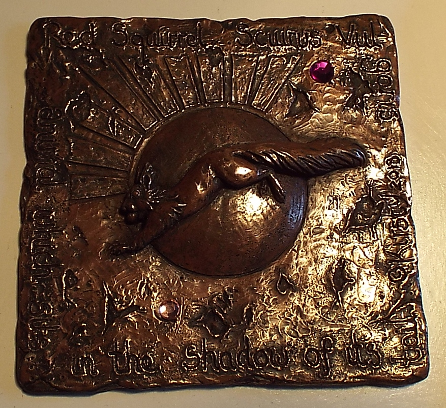 British wildlife sculpture Red squirrel wall plaque in cold-cast copper