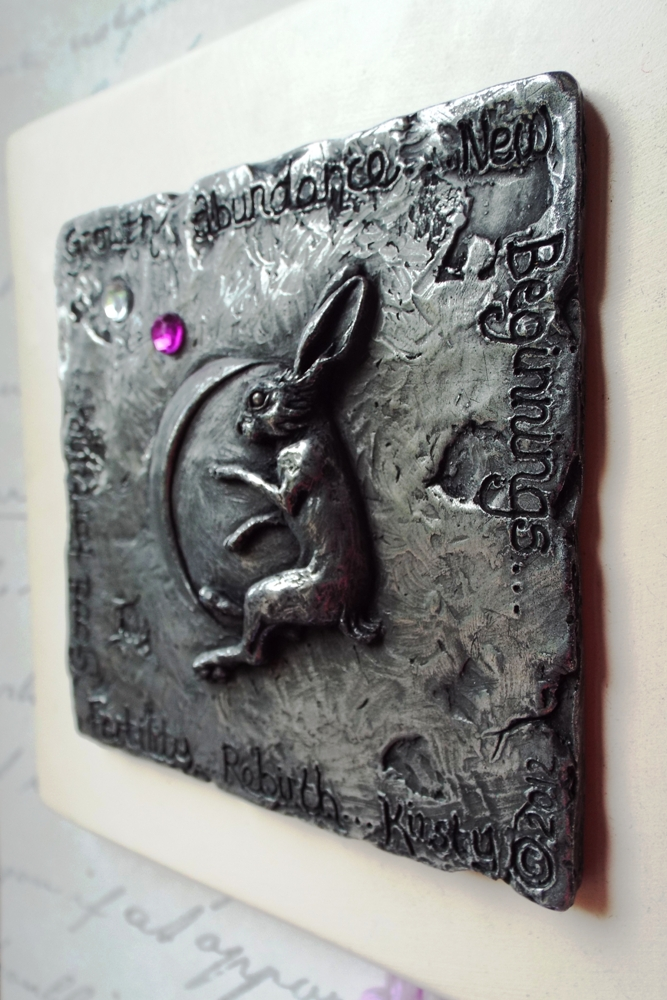 Moon gazing Hare wall plaque in cold cast pewter