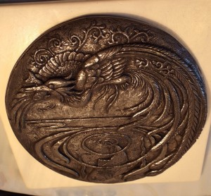 Sculpted wall plaque; 'Halcyon Days' by Kirsty Armstrong 2014