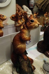 Squirrel kitten sculpture