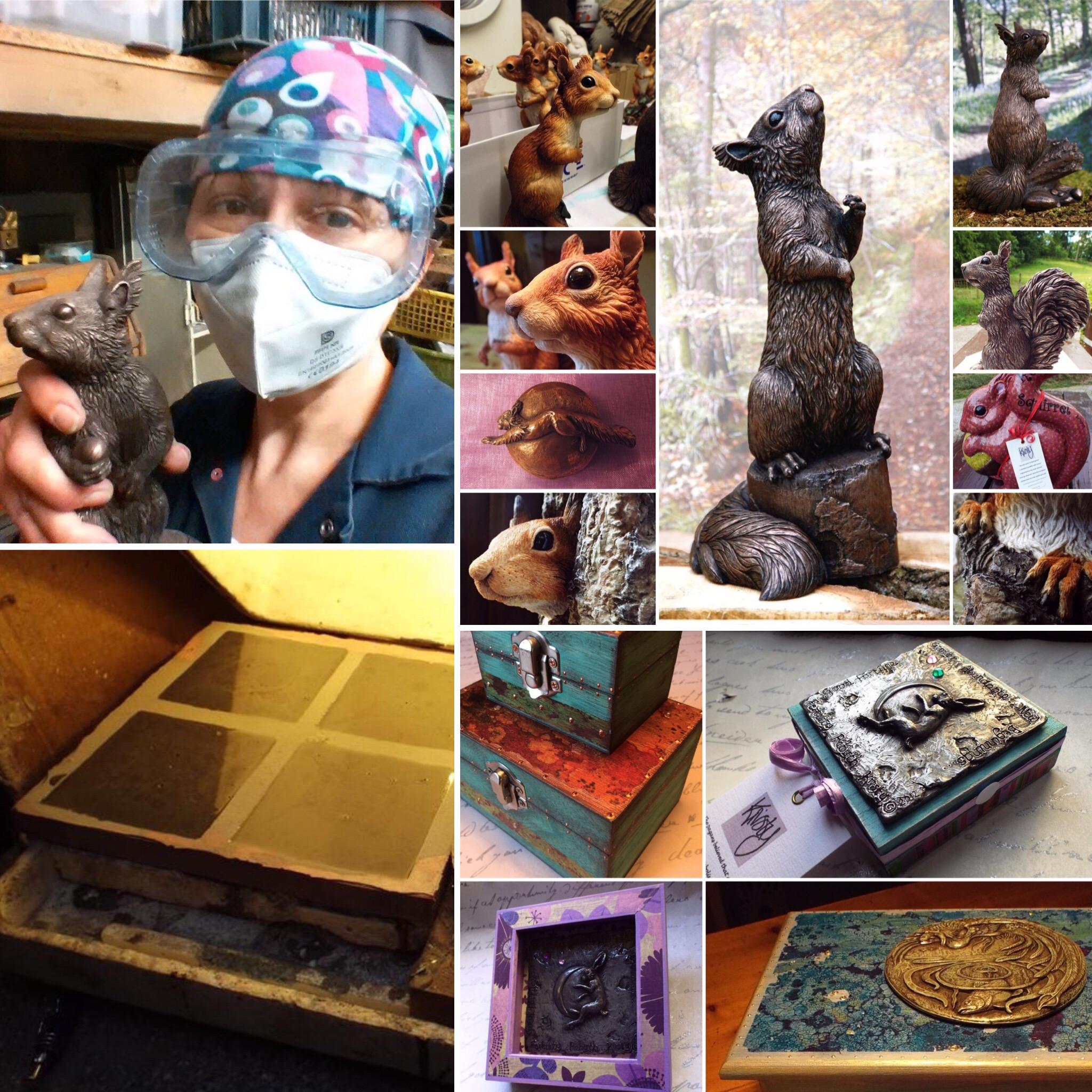 Squirrel, casting, boxes