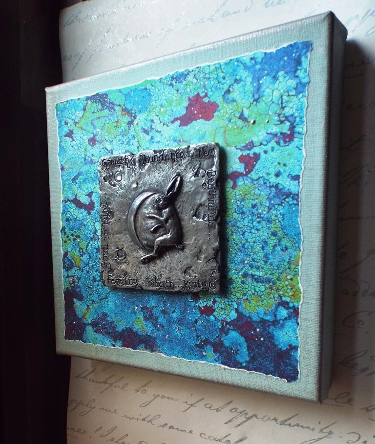 Hare and moon box canvas
