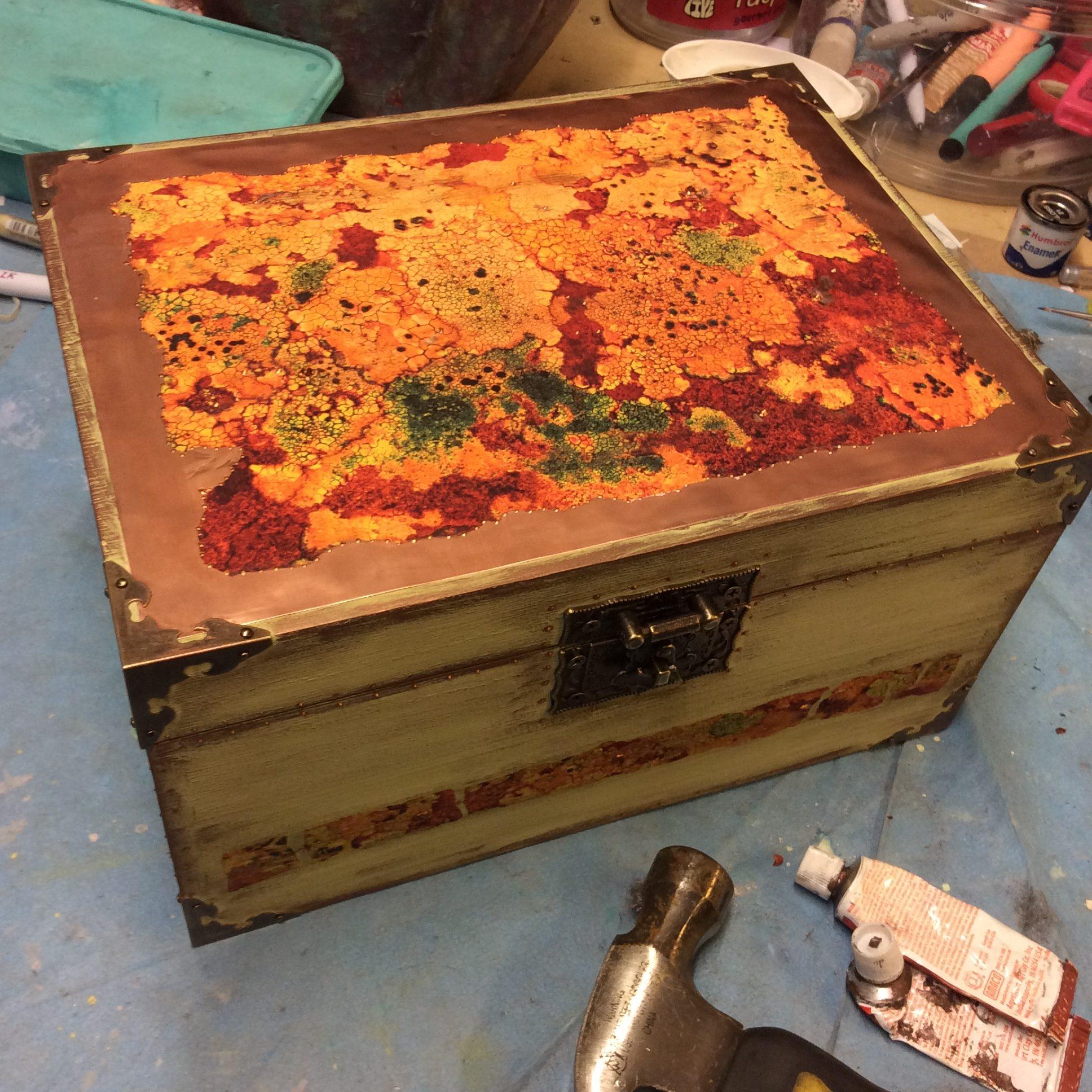 Lichen and copper treasure box