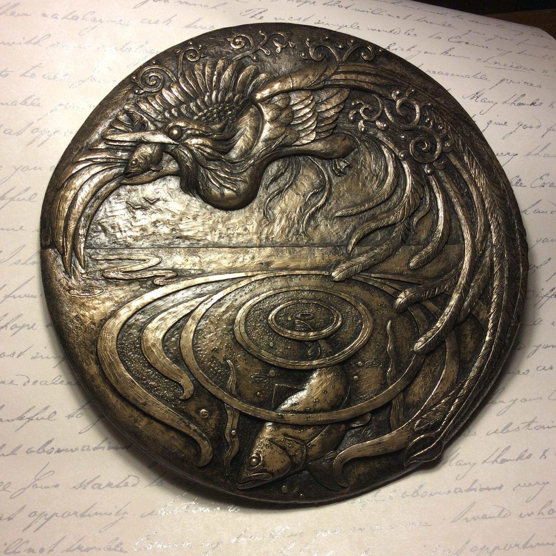 Halcyon Days plaque in bronze