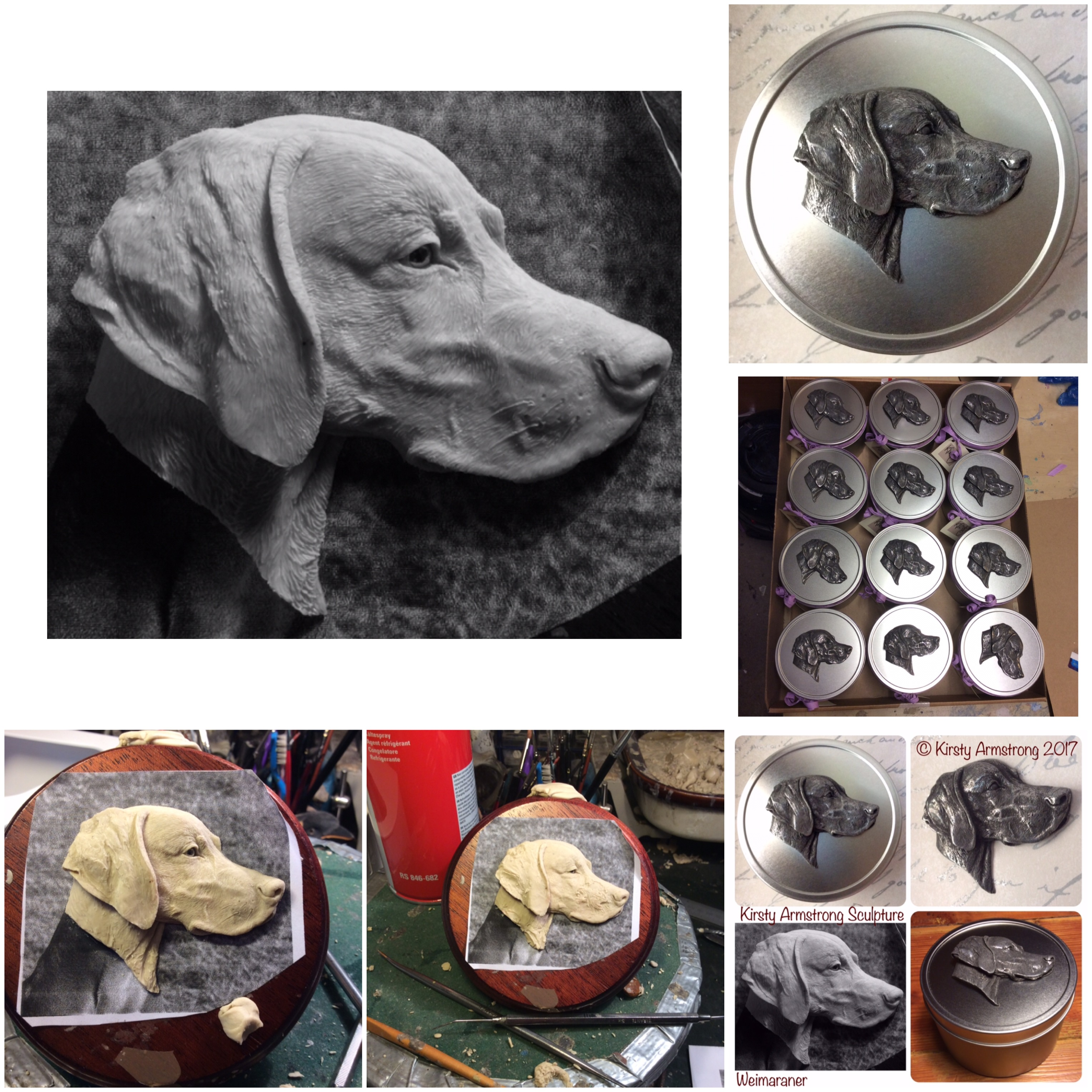 Weimaraner...from wax sculpt to finished product